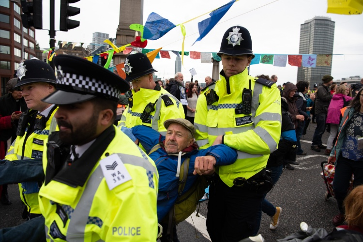 Blocking of Lambeth Bridge by Extinction Rebellion, London